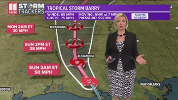 Tracking Barry after landfall