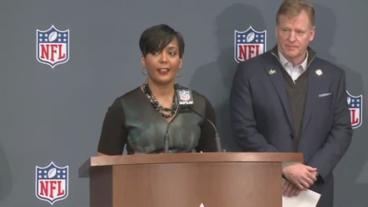 Members of the Atlanta Super Bowl Host Committee were joined by Atlanta  Mayor Keisha Lance Bottoms, President & CEO of the Atlanta Falcons Rich  McKay and ...