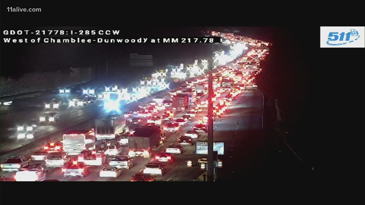 Traffic stalled following crash on I-285 WB at Peachtree Dunwoody Road