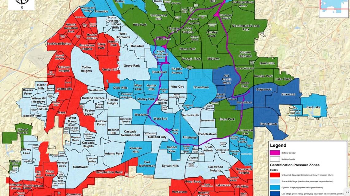 map of atlanta ga and suburbs Where Is Atlanta Gentrifying 11alive Com map of atlanta ga and suburbs