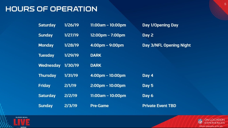 Super Bowl Live Hours of Operation