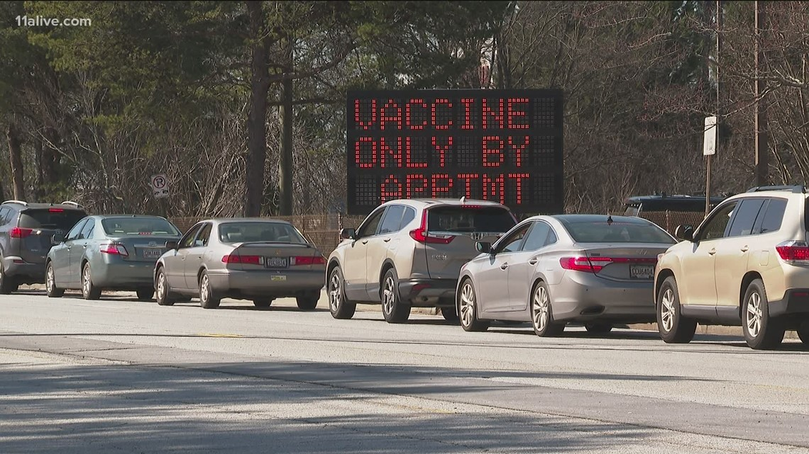 Long wait times at Doraville vaccination site