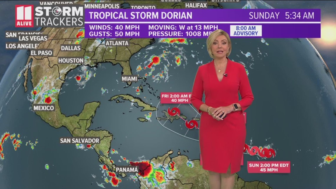 Tracking Tropical Storm Dorian Sunday Morning 11 Am