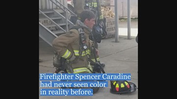 Colorblind firefighter's first sight in full color was an American flag on the Fourth of July