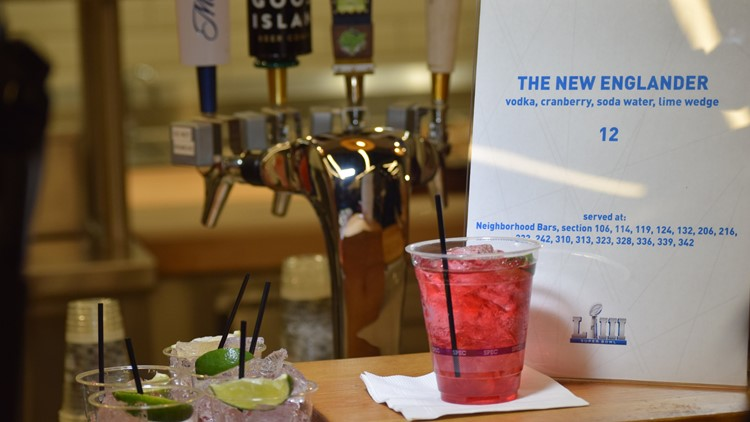 The New Englander cocktail close up view Super Bowl 53