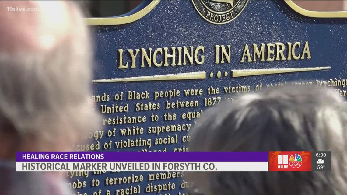 Historical marker which acknowledges lynching history, unveiled in Forsyth County