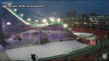 800 tons of snow brought in for competitive skiing event at SunTrust Park today