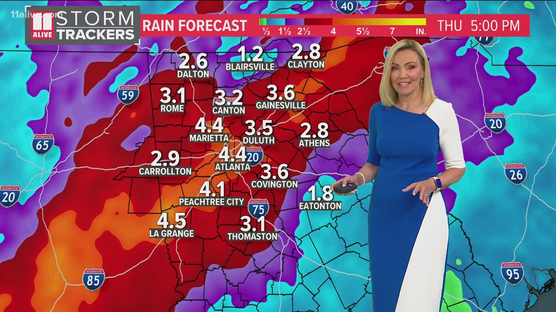 Atlanta could pick up a month's worth of rain in less than a week