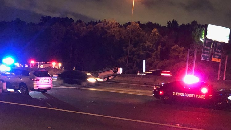 Car flips on 75/85, driver exits vehicle, jumps median and is struck, killed by another car, police say