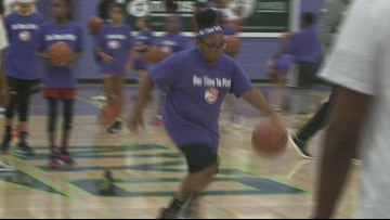 Dozens of girls learn skills at Hawks' 'Her Time to Play' basketball clinic