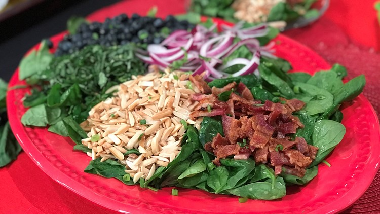 Bacon Basil and Blueberry Salad