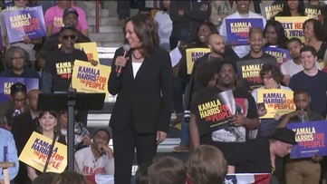 Kamala Harris responds to attorney general's summary during Atlanta campaign stop