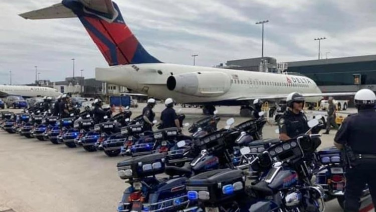 Atlanta Police pay tribute to fallen Capitol Police officer as casket passes through airport