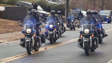 Law enforcement, supporters line procession route to honor slain DeKalb officer