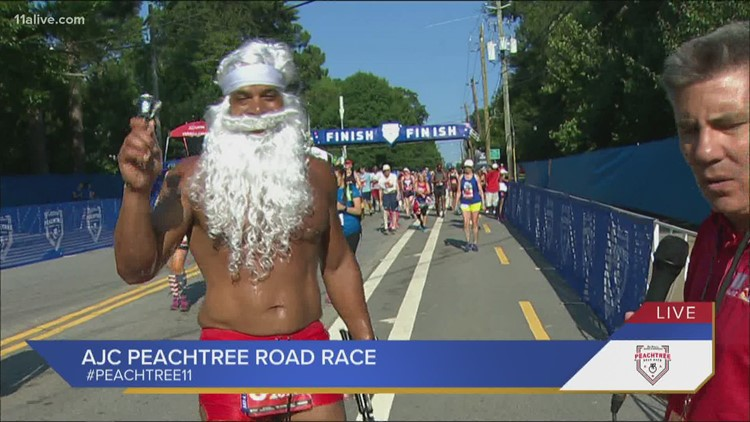 Santa just finished the AJC Peachtree Road Race!