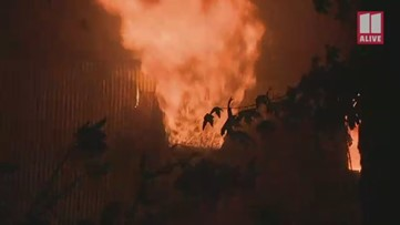 Video shows flames coming from Tucker building