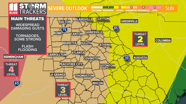 Significant severe weather possible in Georgia Sunday