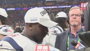 Sony Michel speaks after New England Patriots win Super Bowl LIII in Atlanta