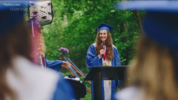 She had a seizure the day of graduation. So her high school brought the ceremony to her.