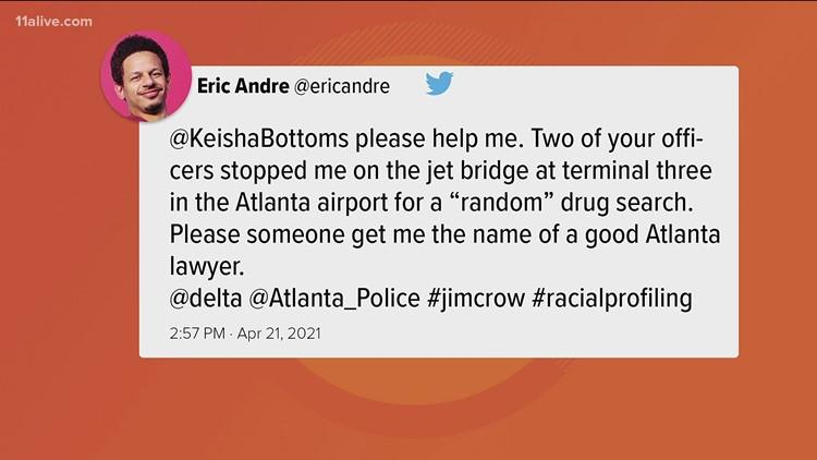 Eric Andre says he was racially profiled at Atlanta airport