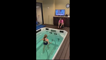 Zoe Ordway undergoes water therapy rehabilitation
