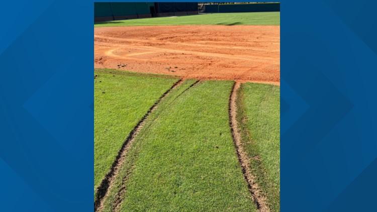 Gwinnett Stripers help out Collins Hill High after baseball field vandalized