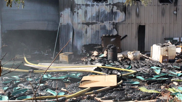 Several fake gator heads pulled from massive Cobb County warehouse fire