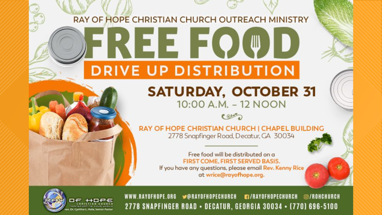 Free food giveaway at Ray of Hope Christian Church this weekend