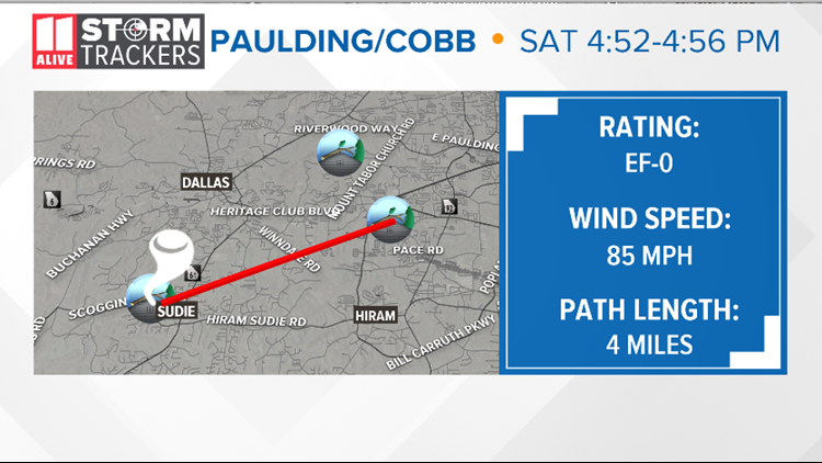 Tornado crossed from Paulding into Cobb County on Saturday: NWS