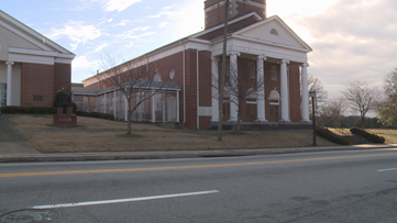 Church doors vandalized with spray paint