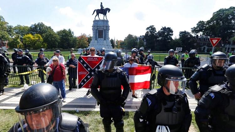 Confederate Monument Protest-Vandalism