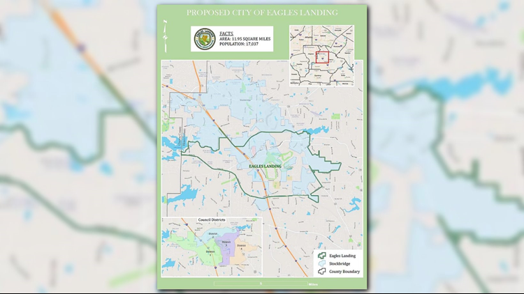 Map of proposed city of Eagle's Landing
