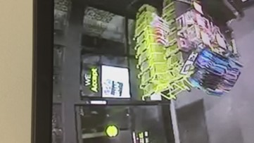 RAW: Would-be burglar uses fire extinguisher to try to break into store