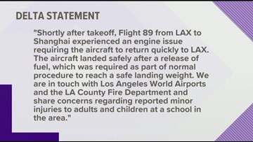 Delta releases statement after plane dumps fuel on playground