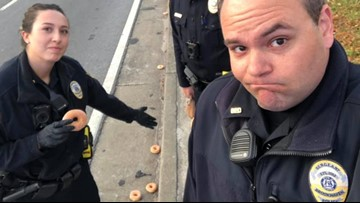 'Total carnage': Donuts on highway devastate local police, then act of kindness leaves them with a smile