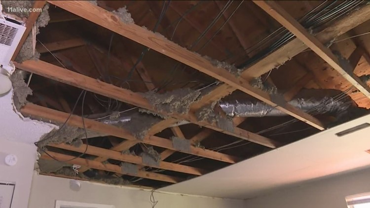 Ceiling collapses at Roswell woman's apartment