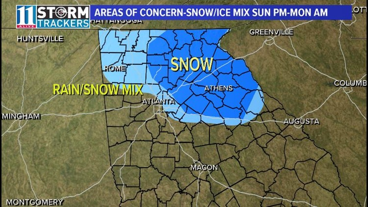 Winter weather for parts of north Georgia this weekend