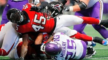 WATCH: Atlanta Falcons defenders Vic Beasley, Deion Jones team up for a pick-six