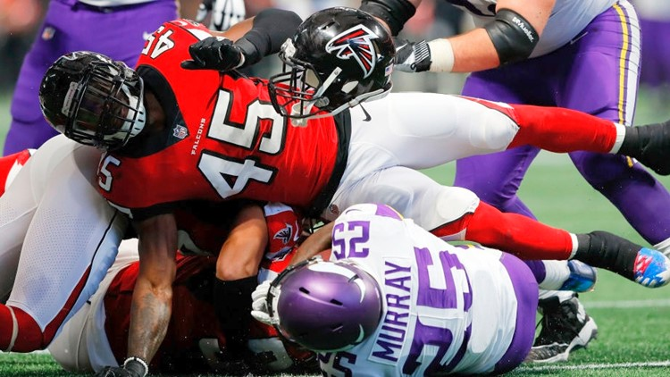 WATCH: Atlanta Falcons defenders Vic Beasley, Deion Jones team up for a pick-six