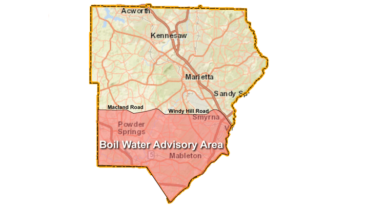 area covered by boil water advisory - cobb county - june 11, 2019