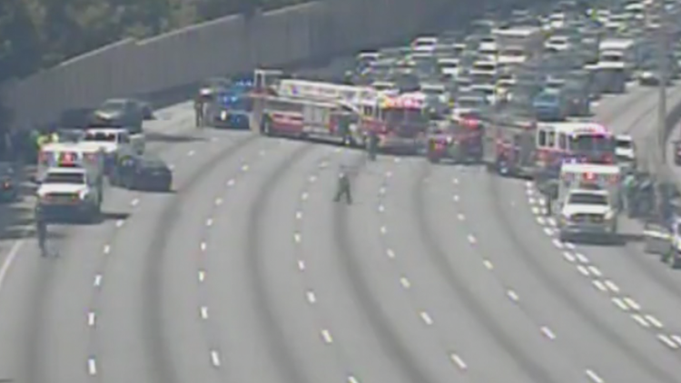 Wreck on I-75/85 NB early Saturday afternoon forces traffic detours