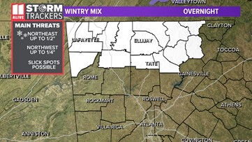 Less than an inch of snow possible over north Georgia mountains overnight