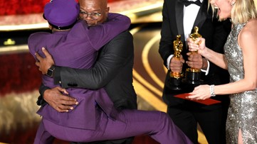 Spike Lee and Samuel L. Jackson have 'Morehouse' moment on stage at the Oscars