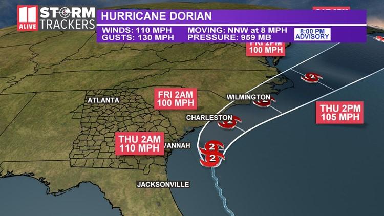 Dorian track 8 pm