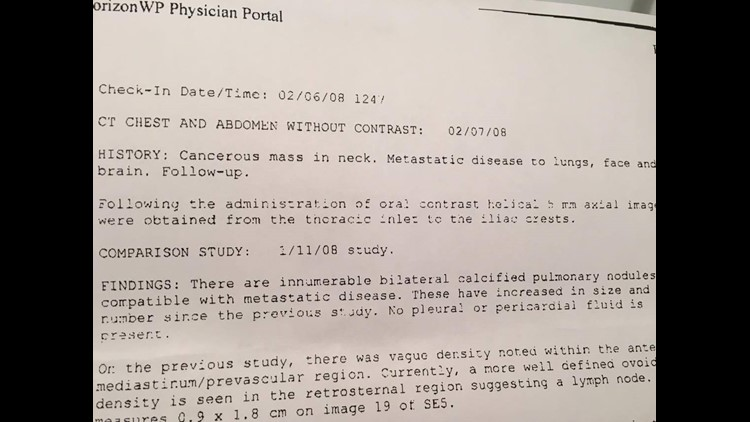 "This is a physician's report finding ""innumerable"" cancerous tumors during a follow-up appointment. (Photo: COURTESY OF ASHLEY MANN HALLFORD)"