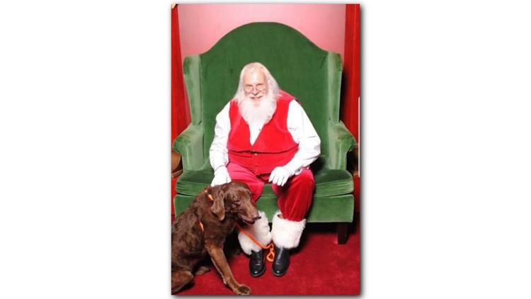 santa and dog