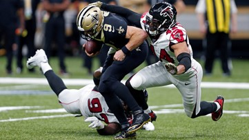 Falcons stun first-place Saints 26-9, ending New Orleans' six-game winning streak