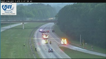 Lanes shutdown on I-675 NB at highway 42 after motorcycle crash