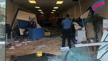 Elderly driver sends vehicle completely through Goodwill Donation Center
