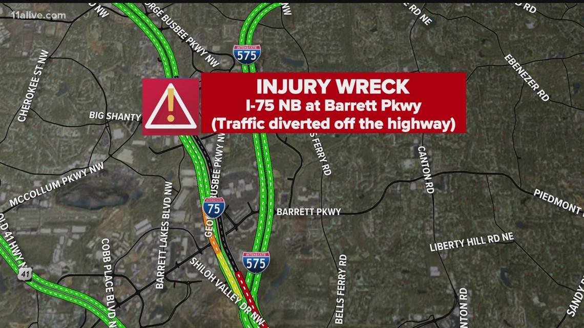 Atlanta traffic | I-75 North in Kennesaw closed at Barrett Pkwy
